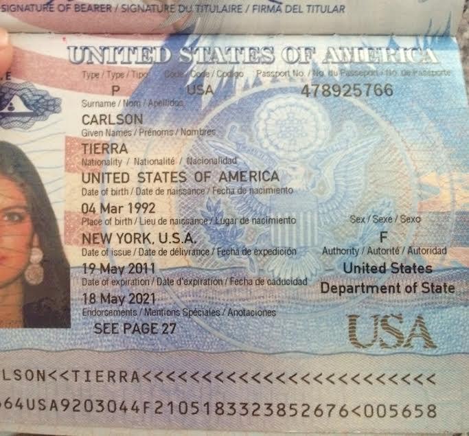 паспорт Тиерры Карлсон из переписки с Кенесом Ракишевым